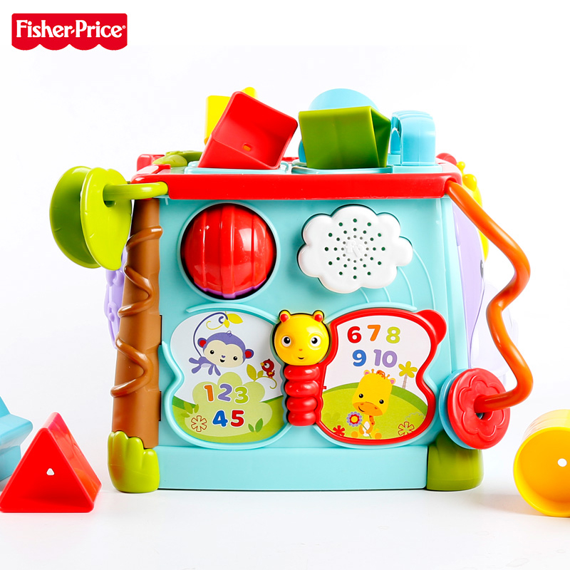 Fisher-Price Original Brand Baby Learning Toy Play & Learn Activity Cube Busy Box Man Use 6 Sides Kid Funny Toys CMY28 For Kid цена