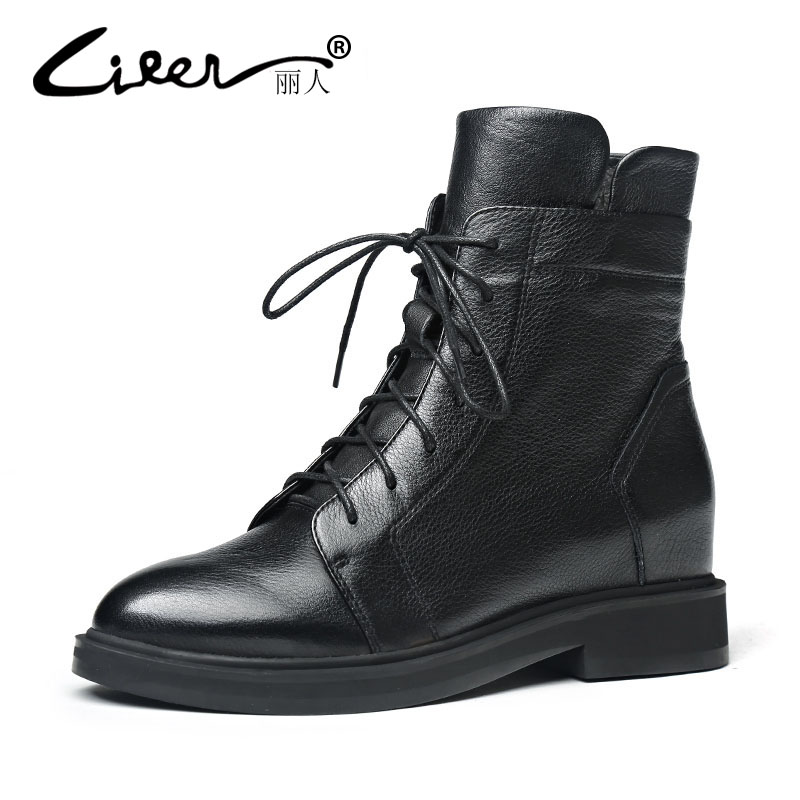 LIREN 2018 Women Boots Fashion Genuine Cow Leather Shoes Spring Autumn Platform Leather Ankle Boots Women Black Flat Casual Boot 2017 new genuine leather elastic band chunky women ankle boot casual round toe anti skid spring autumn flat short boots zy170919