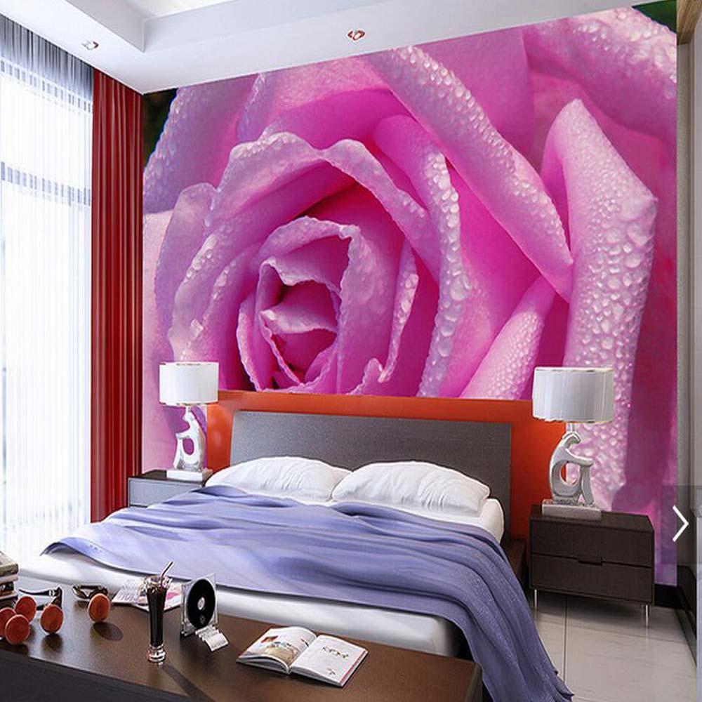 Pink Rose Flower Wallpapes 3D Bedroom Wall Paper Floral