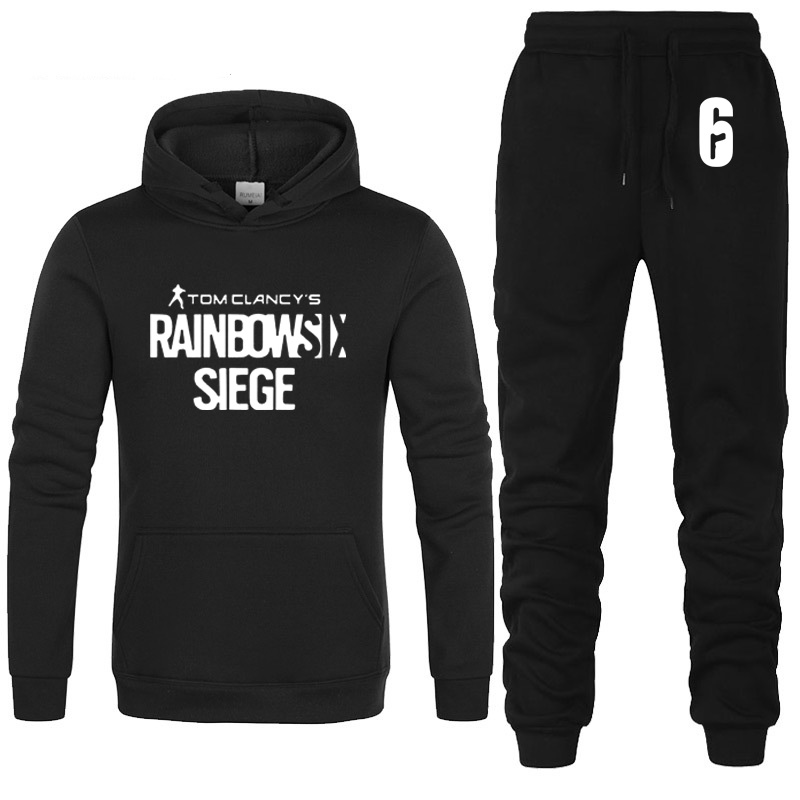 Rainbow Six Siege Hoodies Men Autumn Winter Hoody Fleece Sweatshirt Hip Hop Tracksuit Fashion Mens Hoodies Pants Suit 2Pcs