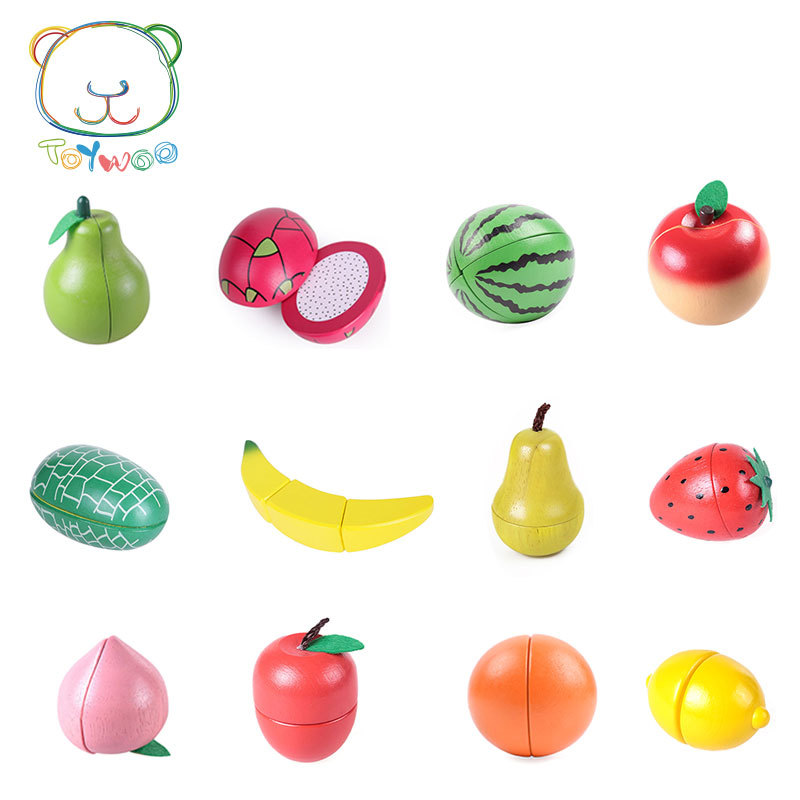[Toy Woo] Wooden Cutting Kitchen Toy Pretend Play Fruit Vegetable Baby Educational Food Toys Children's Kitchen Play Gifts