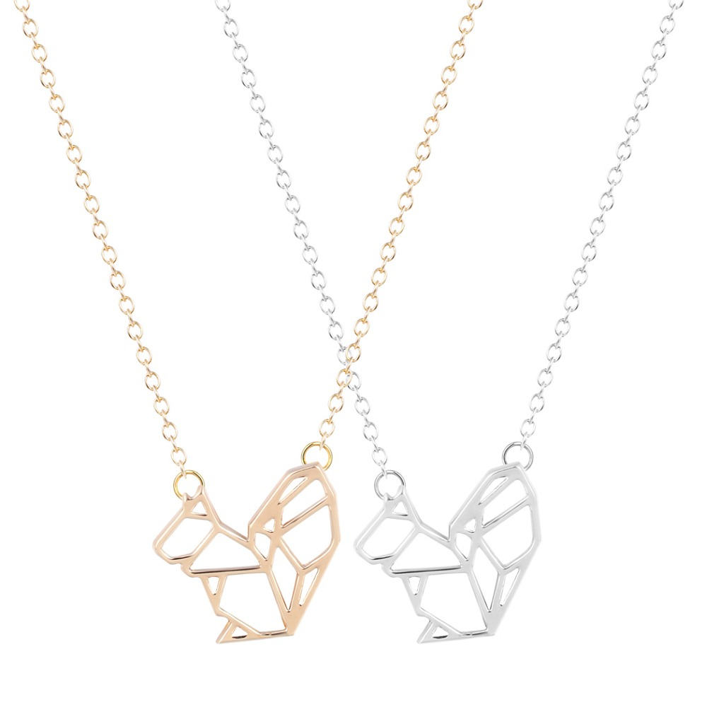 QIAMNI Hot Sale 10pcs/lot Wholesale Unique Origami Squirrel Necklace for Women and Girls Fashion Gift