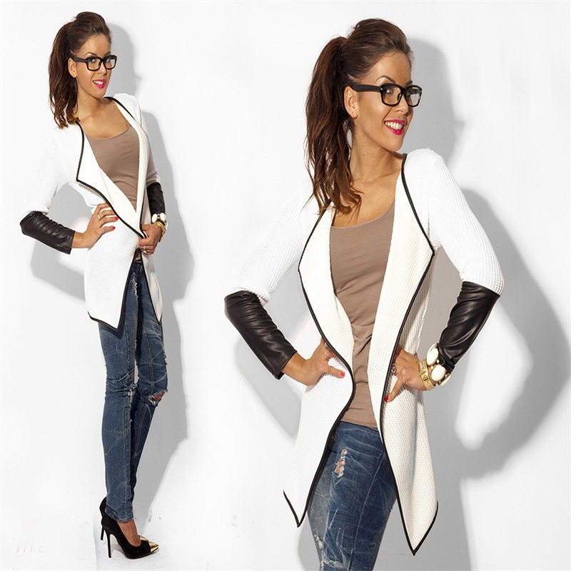 2017 Summer Fashion Long Sleeve Faux Leather Female Blouses Sweater