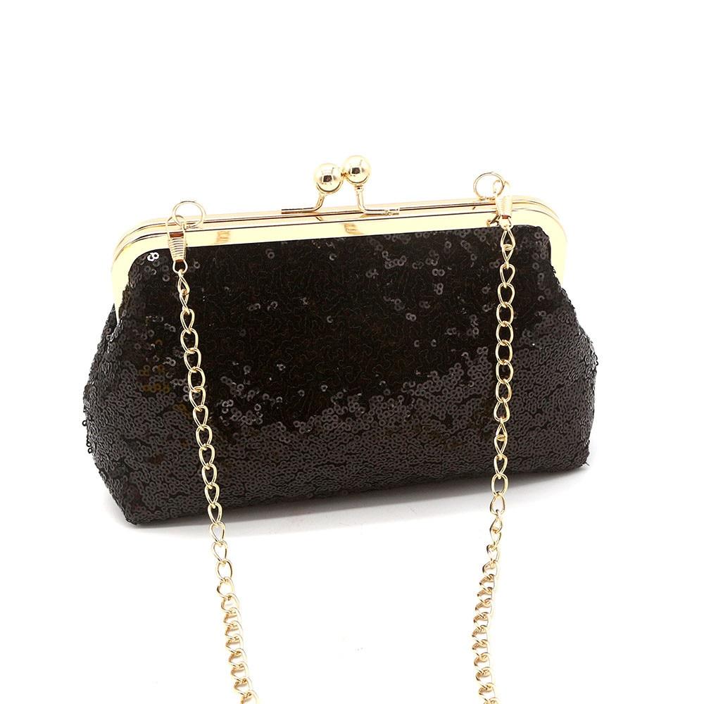 Women Leather Shining Small Wallet Lady Hasp Sparkling Purse Mini Clutch Bag Chain Bag pochette soiree