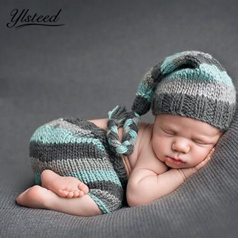 9d27efb56 US $11.38 5% OFF|Newborn Baby Photography Props Crochet Newborn Costume  Stripe Hat Pants Set Infant Outfit for Photo Shooting Baby Boy Photo  Prop-in ...