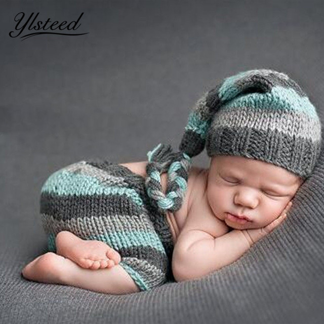 1843d094e27e8 Newborn Baby Photography Props Crochet Newborn Costume Stripe Hat Pants Set Infant  Outfit for Photo Shooting Baby Boy Photo Prop