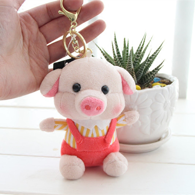 Key Chains Cute 10cm Fragrance Pig Keychain Fabric Art Plush Doll Key Chains Car Key Ring Key Chain Metal Keyring Gift Bag Charm Pendant