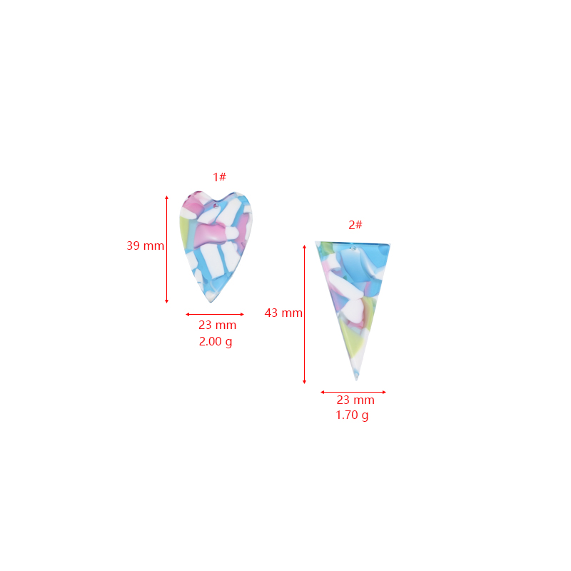 6 Pcs magic color triangle love Acetate Earrings for Women Girl Personality Geometric Pendant material DIY jewelry accessories in Drop Earrings from Jewelry Accessories