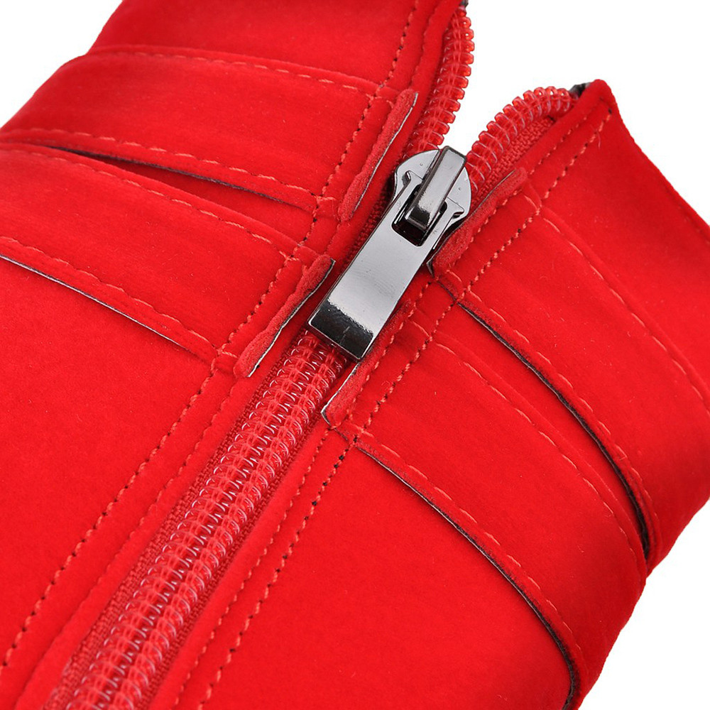 Plate Talon Chaud red Bout Femme Talons Mujer Carré Ac30 Hauts Black Zipper forme Zapatos Chaussures Bottes Hiver À Rond Femmes YO0HqPn