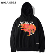 Aolamegs Hoodies Men Metallica Skull Print Hood Pullover High Street Fashion Hip Hop Streetwear Casual Hoodie Autumn Hot Sale