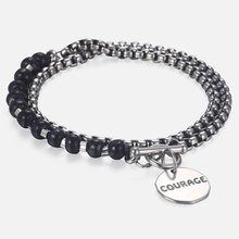 Trendsmax Men's Wood Beaded Bracelets Stainless Steel Charm Box Link Chain Bracelet Male Fashion Jewelry Gifts For Men DB32(Hong Kong,China)