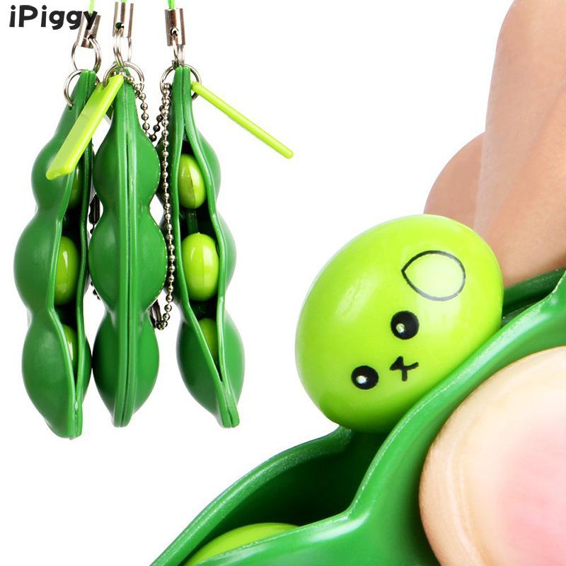 Pendants Funny Beans Keychain Gadgets Kid Novelty Decompression Toy Anti Stress Relief Ball Squishy Squeeze Peas Edc Fidget Toys
