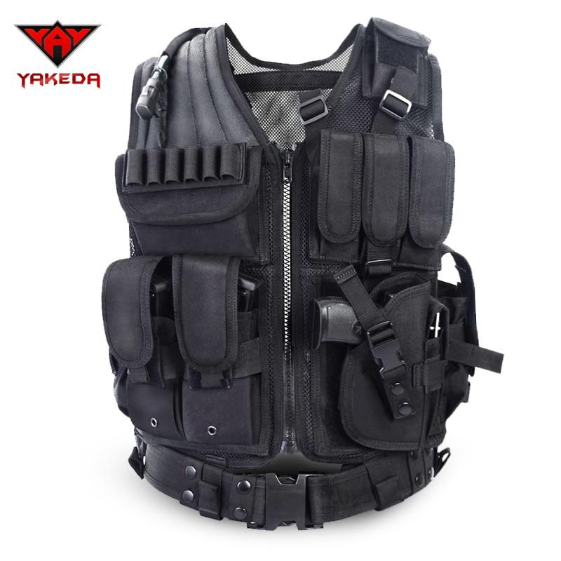 2016 Policía Chaleco táctico Camuflaje al aire libre Armadura del cuerpo Ropa deportiva Ropa de caza Chaleco Swat Molle Chaleco Negro