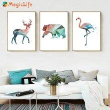 기하학적 사슴 곰 플라밍고 동물의 벽 아트 캔버스 페인팅 북유럽 애니메이션 포스터 키즈 침실 홈 장식 벽 그림 Unframed