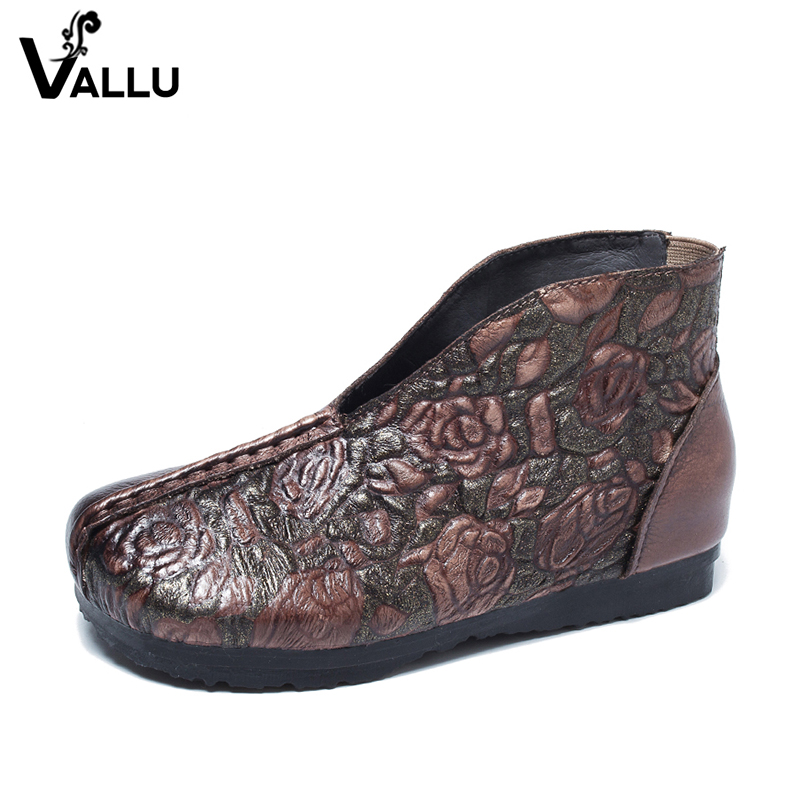 2018 VALLU Genuine Leather Women Ankle Boots Round Toes Handmade Flower Vintage Ladies Shoes Flat Boots 2018 vallu new leather shoes women ankle boots round toes buckle zipper handamde vintage flat platform ladies boots