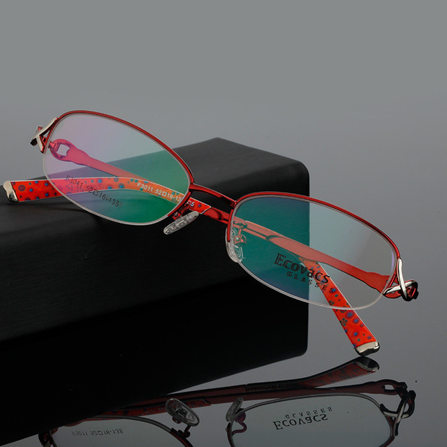 Fashion Ma'am Myopia Glasses Fancy Woman Fund Hyperopia Astigmatism Spectacles Frame Titanium Alloy Presbyopic Picture F 3011