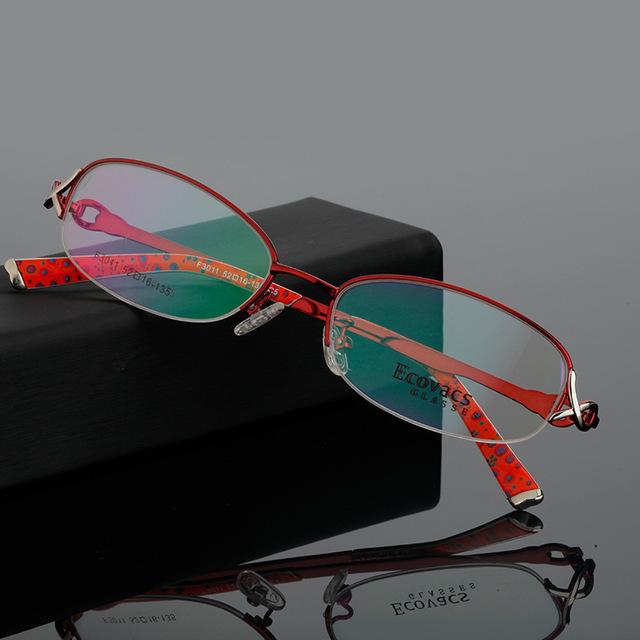 Moda senhora óculos de miopia presbiopia hipermetropia astigmatismo espetáculos quadro titanium liga fantasia mulher fundo imagem f 3011