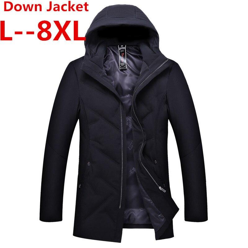 Plus 8XL 6XL 5X Long doudoune hommes hiver manteau mode hiver chaud blanc canard épais doudoune à capuche vêtements de sortie d'hiver veste