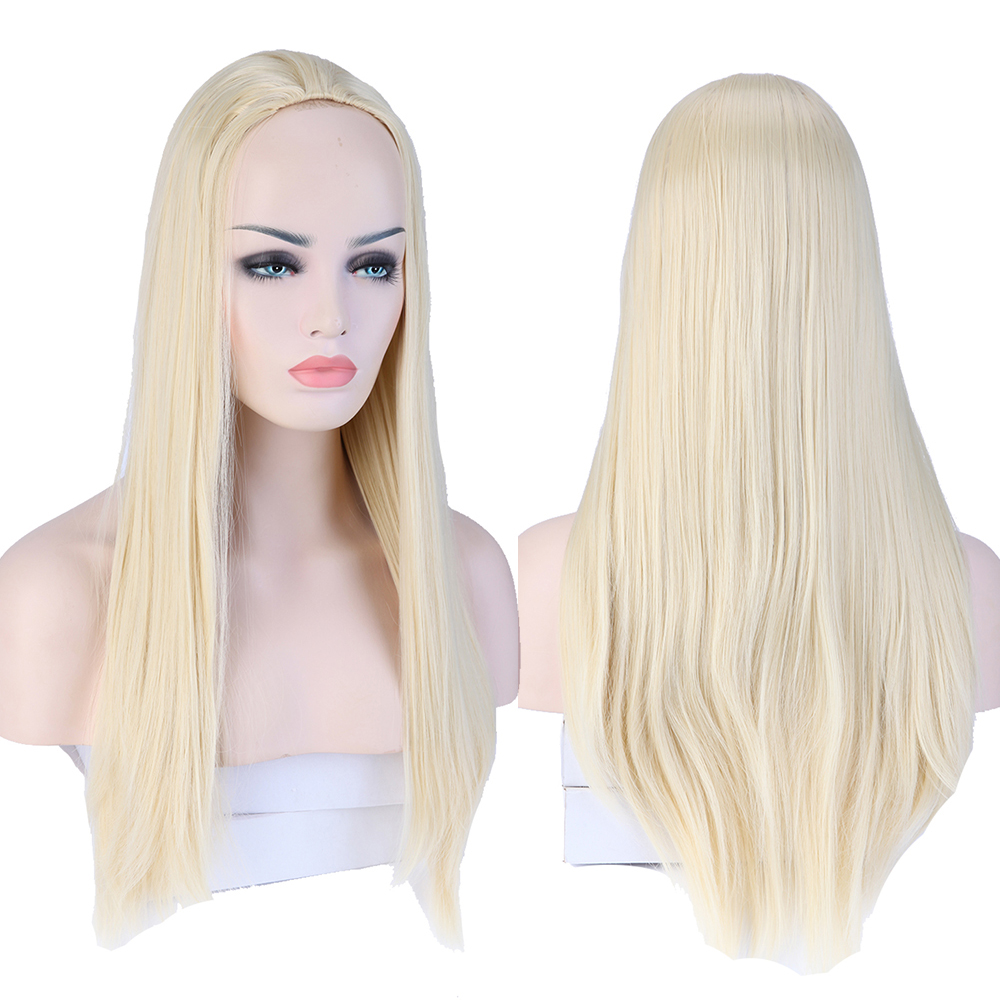 Straight perm bleached hair - Aliexpress Com Buy 25 63cm Stylish Long Straight Synthetic Half Wig Bleach Blonde Color Hair Clip In Hairpiece Women S Fashion 3 4 Full Wigs From