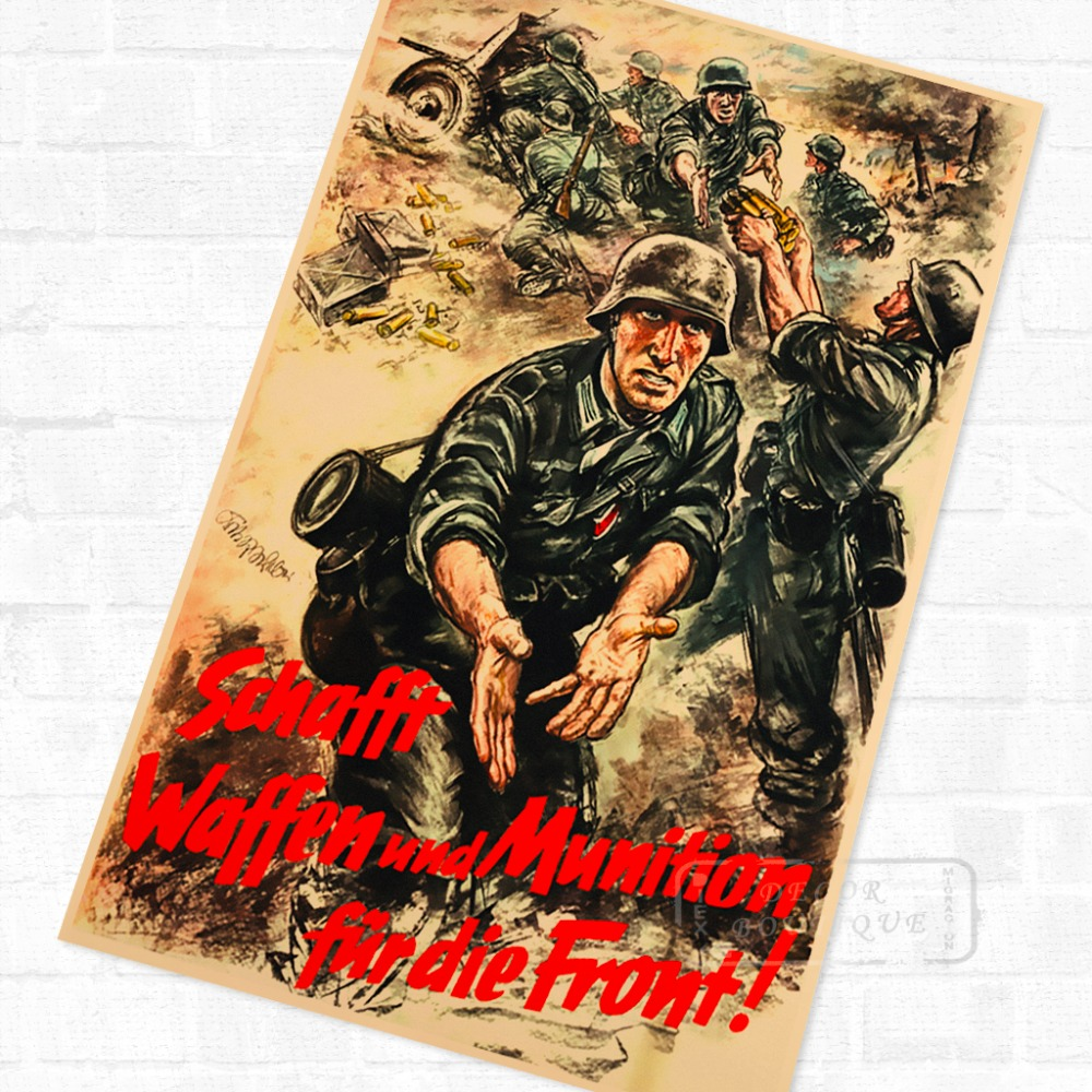 US $3 98  WWII Old German History Battle Solider Vintage Retro Kraft Poster  Decorative DIY Wall Stickers Home Bar Art Posters Decoration-in Wall