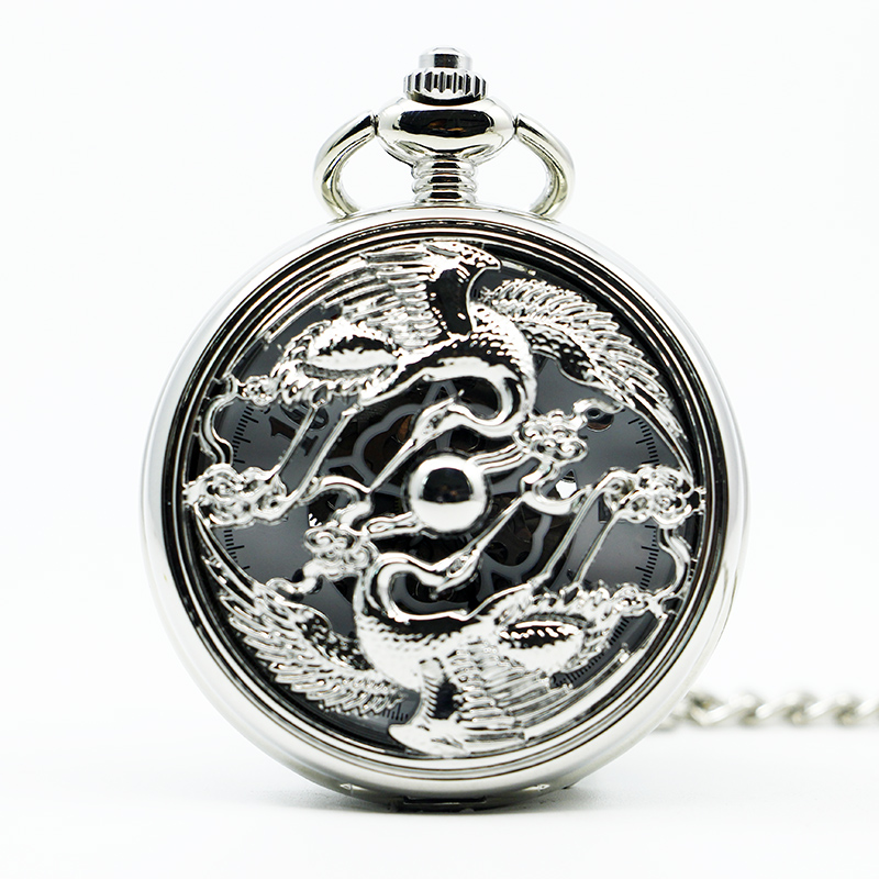 Brst Selling Vintage Skeleton Antique Luxury Silver Men Watch Steampunk Mechanical Pocket Pocket & Fob Watch Fob Chain PJX1295
