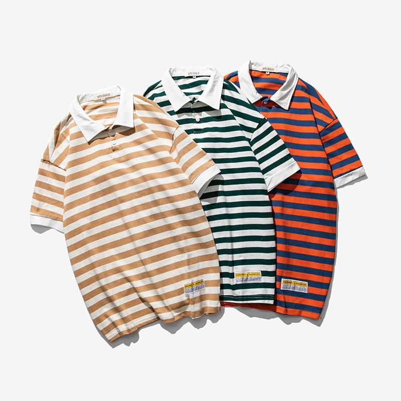 Streetwear Male   Polo   Shirt Fashion Stripe Men   Polo   Shirt Summer Casual M-XL   Polo   Shirts Man Short Sleeve