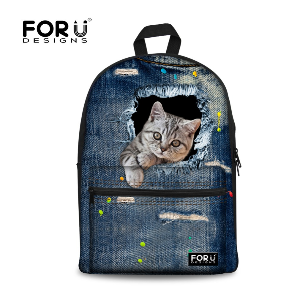 Cute Animal 3D Print Cat Women Canvas Backpack For Teenage