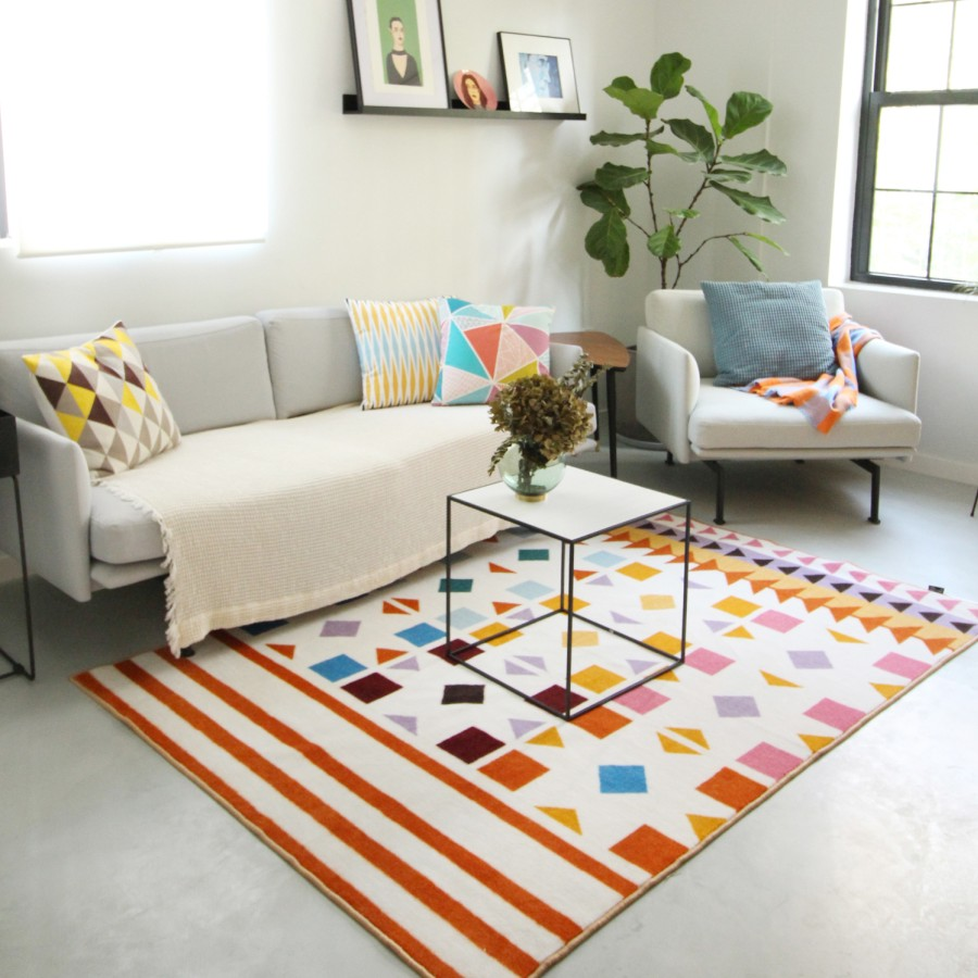 Collalily Nordic Living room Carpet Geometric Indian red white ...