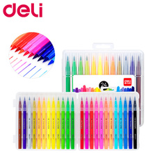Deli 12/24/36/48 Color Marker Pen Set Soft Head Water Sketch Painting Brush Art Fine Color Artist Pens Drawing School Supplies