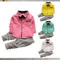 0-3Years Criança Meninos Roupas Camisa de Manga Comprida + Calças Listradas 2 pcs Conjuntos de Roupas Menino das Crianças Pouco Senhores Streetwear
