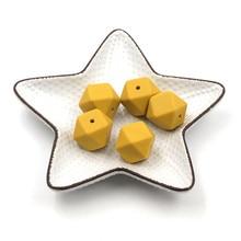 JOJOCHEW Hexágono Cuentas de Silicona Mostaza Collar Amarillo Cuentas de Silicona 17mm Bebé Teether BPA Libre Jelweling que hace 50 unids