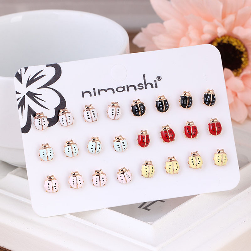 ISINYEE Cute Enamel Miraculous Ladybug Dragonfly Stud Earrings Set For Women Girls Kids Crystal Small Insect Brincos Jewelry