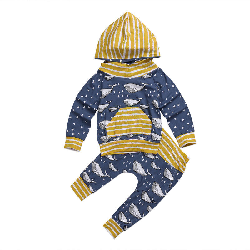 2017 Brand New Newborn Toddler Infant Kid Baby Boy Girl Clothes Hoodies Long Sleeve Tops T shirts Pants 2Pcs Outfits Whale Sets cotton letter tops romper pants newborn infant baby boy girl 2017 new arrival fashion outfits clothes sunsuit age 0 3y