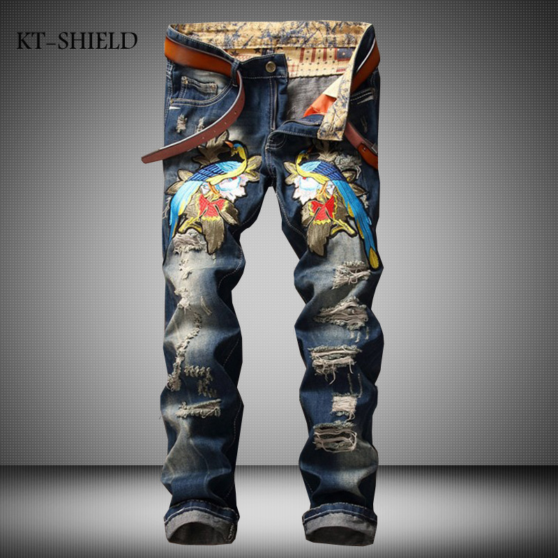 Mens Light Wash Biker Jeans Homme Slim Fit Straight Denim Pants Trousers Famous Brand Designer Magpie Embroidered Jeans For Men 2017 fashion patch jeans men slim straight denim jeans ripped trousers new famous brand biker jeans logo mens zipper jeans 604