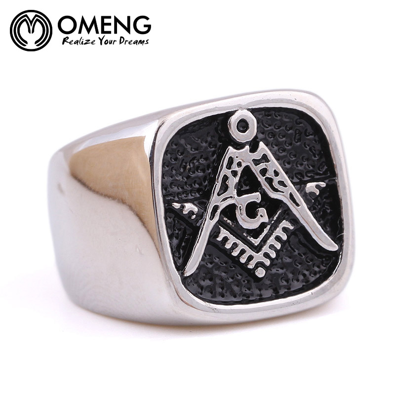 OMENG Hot sale Vintage masonic ring casting Punk Gothic free Mason Stainless Steel finger rings for men Free shipping OJZ050
