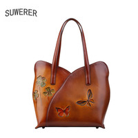 SUWERER 2018 New women bag Superior cowhide women Genuine Leather bags luxury Hand carved Crafts designer top Leather Art Bags