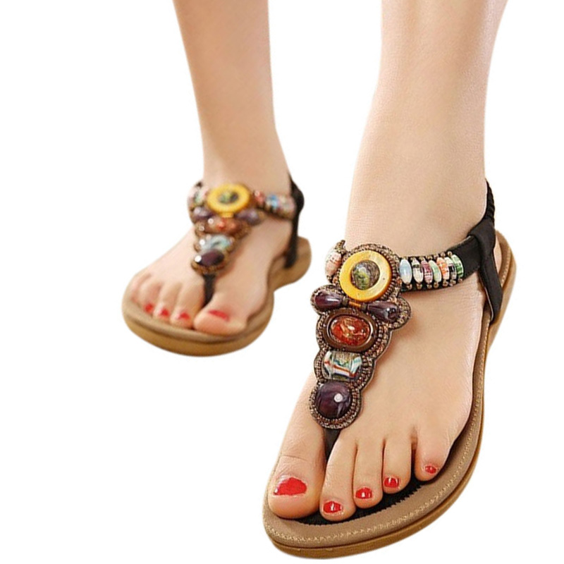 2018 Summer Flat Sandals Ladies Bohemia Beach Flip Flops Shoes Gladiator Women Shoes Sandles platform Zapatos Mujer Sandalias summer women sandals elastic band gladiator sandals women beach shoes bohemia wedges shoes sandalias mujer ladies shoes or876610