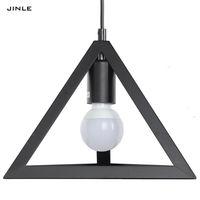 2017 Limited Lamparas Vintage Simple Iron Triangle Shape Pendant Light Metal Lamp Shade Droplight Study Black White Decoration