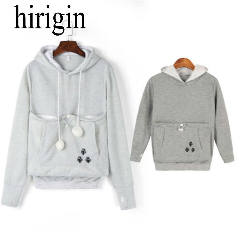 Family Matching Dog Cat Hoodies Women Pullover Knitted Cotton Tops Cartoon Hooded Essential Jumper Long Sleeve Hoodies Pocket