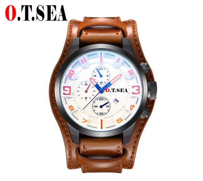 Luxury O.T.SEA Brand Leather Watch Men Military Sports Quartz Wristwatch With Date Relogio Masculino 1032B relogio masculino olevs luxury brand sports wristwatch display date men s quartz digital dial watch business leather men watch