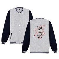 2018 BTS Bangtan Boys Coat Autumn Winter Sweatshirt Baseball Uniform Korean Version KPOP Men Women Black