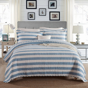 Quality Blue Stripe BedSpread Quilt Set 3pcs Coverlet Washed Cotton Quilts Quilted bedding Bed Covers King Queen Size Blanket