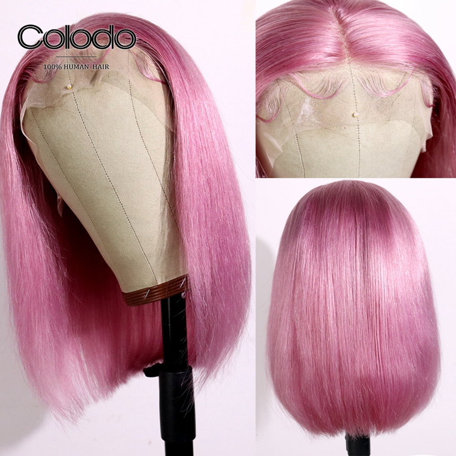 COLODO Pre Plucked Hot Pink Bob 13x6 Lace Front Wig Remy Hair Brazilian Short Human Hair