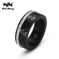 WelMag Female Hematite Health Ring With Rhinestones Elegant Stainless Steel Bio Energy Black Ring Jewelry For