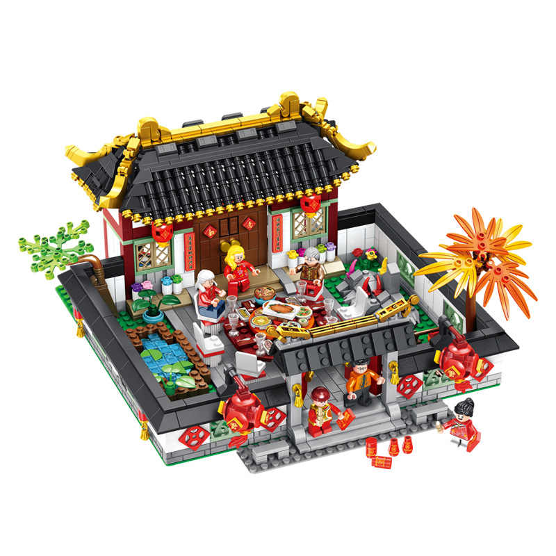 2019 City Creator Chinese New Year'S Eve Dinner Dragon Dance Lion Dance  Model Building Blocks Bricks Toys Compatible With Lego