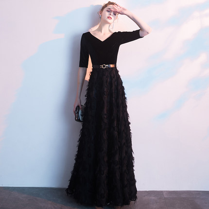 JIN IS YARN black evening dress to show thin female 2019 new winter elegant temperament women