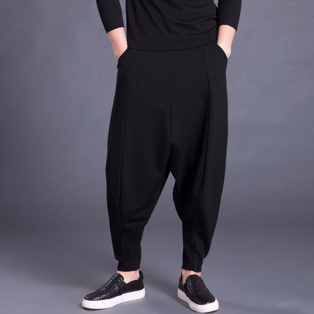 2018 Frühling Herbst Männlichen Pluderhosen Hohe Elastische Taille Beiläufigen Dünnen Männer Kreuzhosen Plus Größe Schwarz Stilvolle Hosen Mk0153
