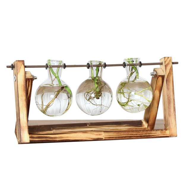 Newest Desktop Vase Glass Planter Bulb with Retro Solid Wooden Stand and Metal Swivel Holder for Hydroponics Plants Home Office 2