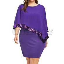 Cuerly Women 2019 Summer Chic Dress Plus Size Irregular Sequin Stitching off-shoulder Chiffon Crew Neck Sexy Dresses Vestidos