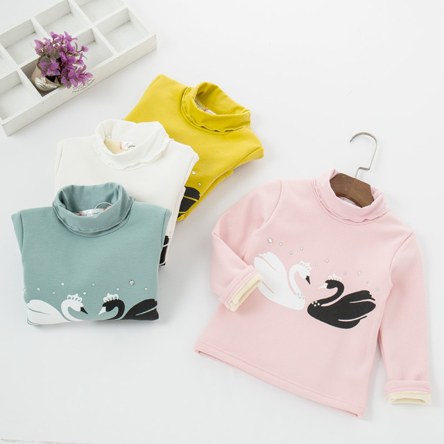 Nueva llegada del otoño y el invierno ropa infantil niñas, además de terciopelo engrosamiento de manga larga camisa de los niños envío gratis